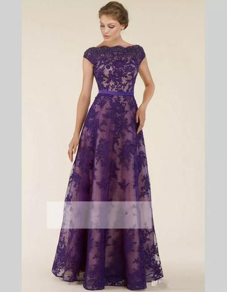 Modest Purple Lace Mother Of The Bride Dresses A Line Boat Neck Short Sleeve With Pearls Godmother Dress Long Mother Groom Gown