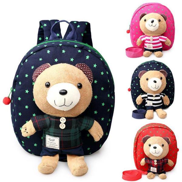 New Baby Toddler Cartoon Harnais de sécurité Anti perdu Bear Backpack Strap Walker Bébé Sacs Lunch Box Bag