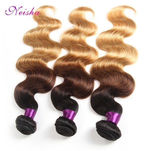 8A Blond Weave Bundles Péruvienne Ombre Cheveux Humains 1B 4 27 Vague de Corps Pas Cher Trois Tons Ombre Péruvienne Cheveux Corps Vague 3 Pcs Lot