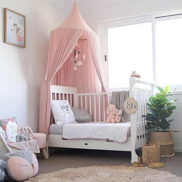 lodogsow Nordic Style Chiffon Baby Mosquito Net Hanging Dome Bed Curtain For Home Sofa Tent For Baby Kid Bedroom Decor L30