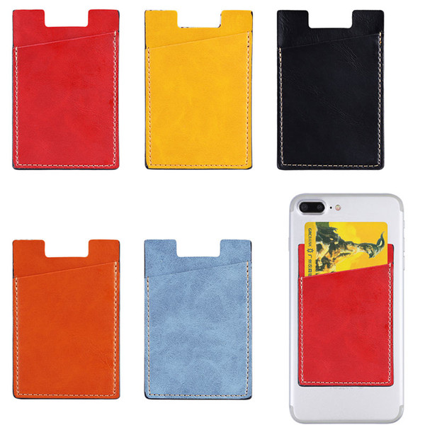 PU Leather Card Holder Phone Stick Wallet Stick On Phone Adhesive Pouch for iPhone Samsung Huawei Universal