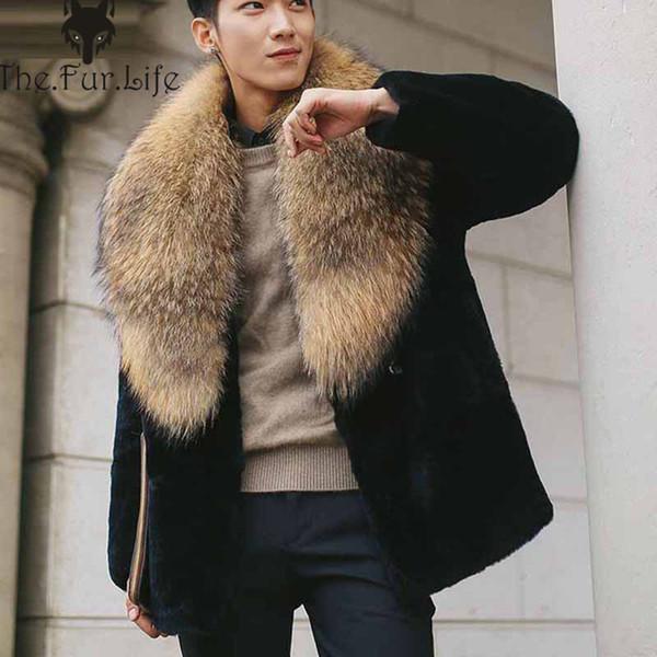 2018 Yeni Vintage Gerçek Rex Tavşan Kürk Ceket Erkek Kalın Sıcak Doğal erkek Kürk Ceket Moda Ceketler Toptan Promosyon