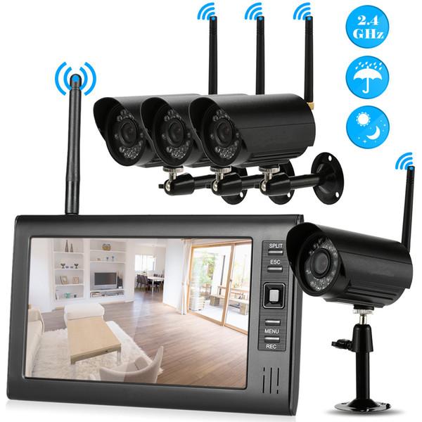 Wifi NVR 4 ADET Kablosuz Güvenlik CCTV Sistemi 7 Inç Destek 32G Açık IP Kamera WIFI Su Geçirmez Video Gözetim CCTV Kiti