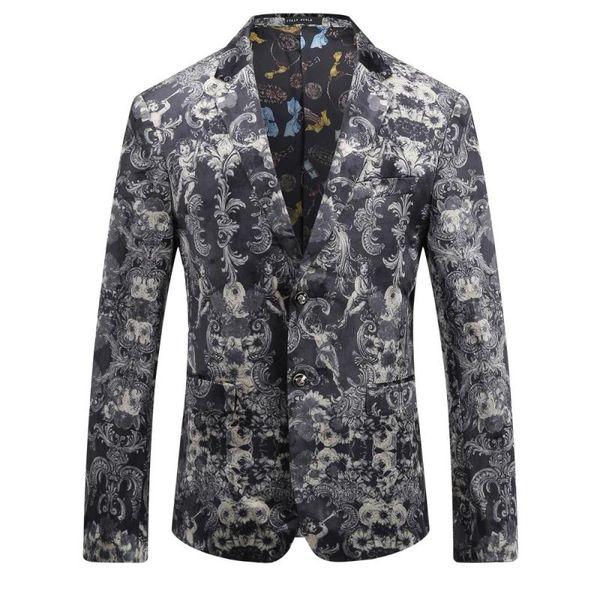 Цветочные повседневная Blazer мужчины высокое качество мужской Blazer 2017 Осень новое прибытие мода Slim Fit мужчины костюм Азиатский размер мужская