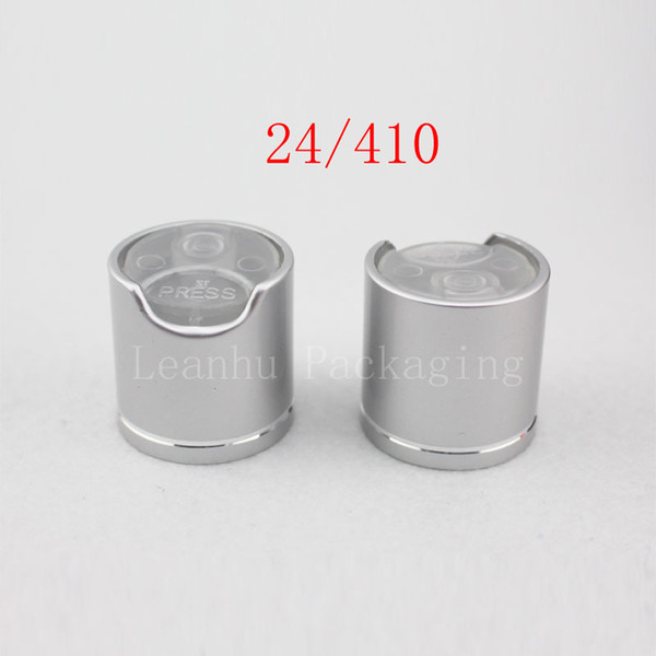 High quality silver disc top caps with aluminum collar 24/410, aluminum shampoo cap,plastic bottle cap push pull ,press caps