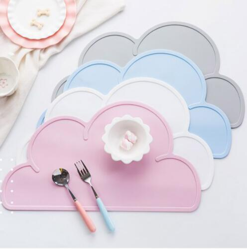 Wholesale Cute Silicone Placemat FDA Bar Mat Baby Kids Cloud Shaped Plate Mat Table Mat BPA Waterproof Set Home Kitchen Pads 47x27cm