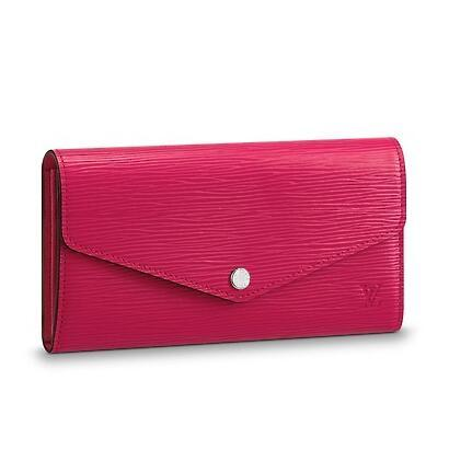 M62560 SARAH WALLET Water ripple rose red Real Caviar Lambskin Chain Flap Bag LONG CHAIN WALLETS KEY CARD HOLDERS PURSE CLUTCHES EVENING