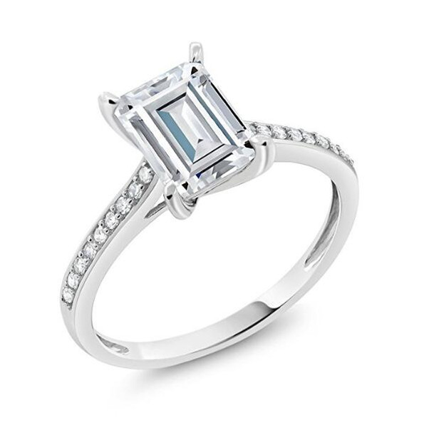 9K,14K,18K White Gold 1Ct,2Ct,3Ct Emerald Cut Fashion Diamond Moissanite Stone Engagement Wedding Rings Test Positive With Certificate