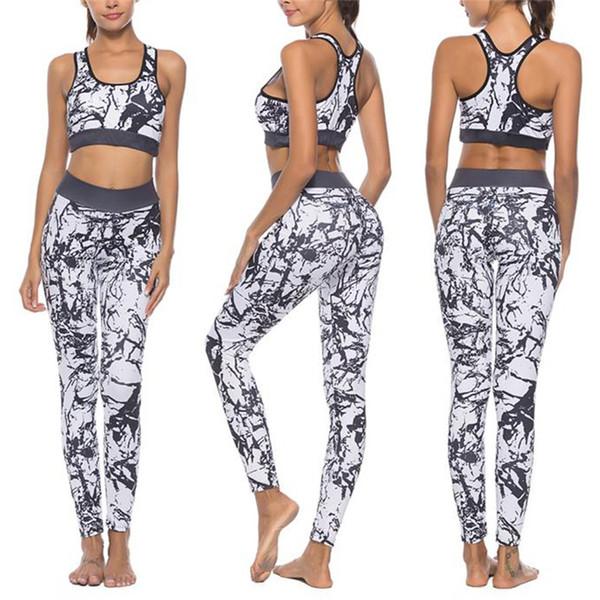 Leggings Survêtement Fitness Gilet Débardeur Vêtements Femmes Blanc Patchwork Gym Vêtements De Sport Tenues Sport Suit Yoga Set