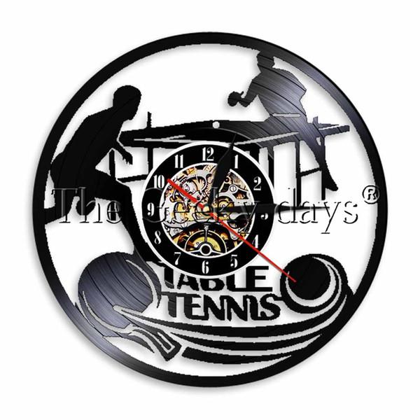 1 stück play ping pong wanduhr vinyl lp rekordzeit uhr tischtennis spiel led licht sport vintage uhr wanduhr