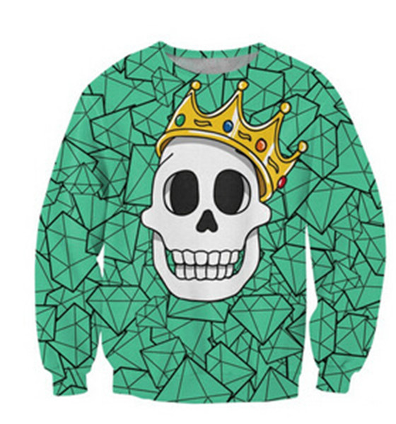 Free Shipping Custom Design Couple women men skull 3d digital printing logn sleeve pullover tracksuit hoodies sweatshirt