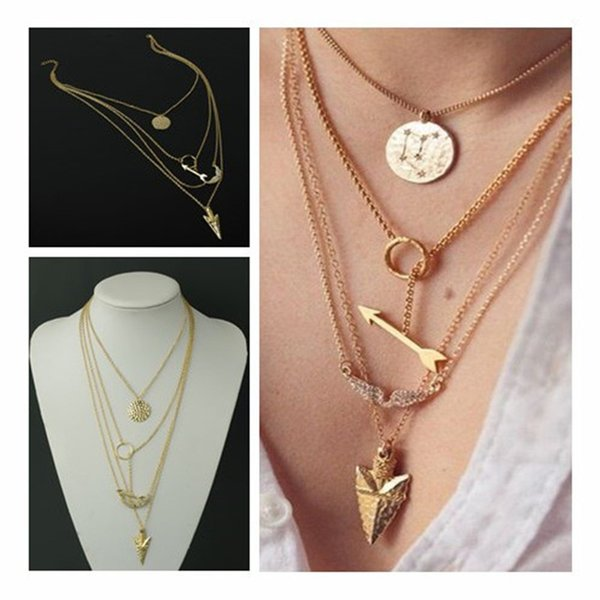New Arrival Fashion Women Multilayer Irregular Crystal Gold Angel Wings Arrow Fish Scales Pendant Chain Statement Necklace Gifts