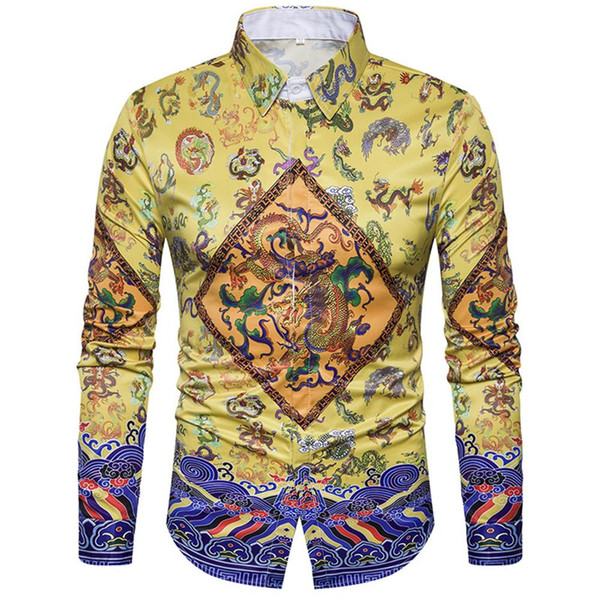 Chinese Style Classic Imperial Robe Print Shirt Vintage Blouse Dinner Party Gentleman Wear Retro Shirts Festival Clothing 2018