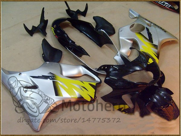 Injection molding Free Gifts Bodywork For HONDA CBR600 F4 1999 2000 CBR 600F4 99 00 CBR 600 F4 99-00 CBR600FS FS Fairing Kit Silver Yellow J