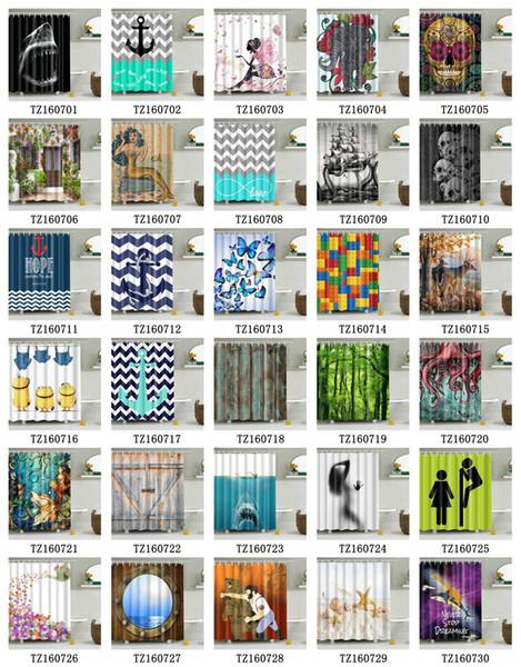 Cortina de chuveiro 72 x 72 polegadas à prova d 'água 3D cortinas de chuveiro para o banheiro tecido de poliéster premium tecido decorativo cortina de banho muitos estilos