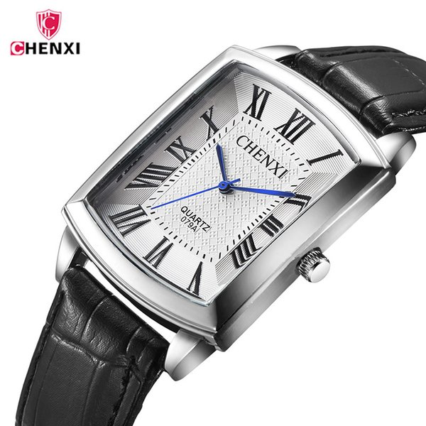 CHENXI Fashion Casual Men's Watch Lovers Watch for boy Couple Men clock Male Student Leather Waterproof Quartz Wrist Watches 45