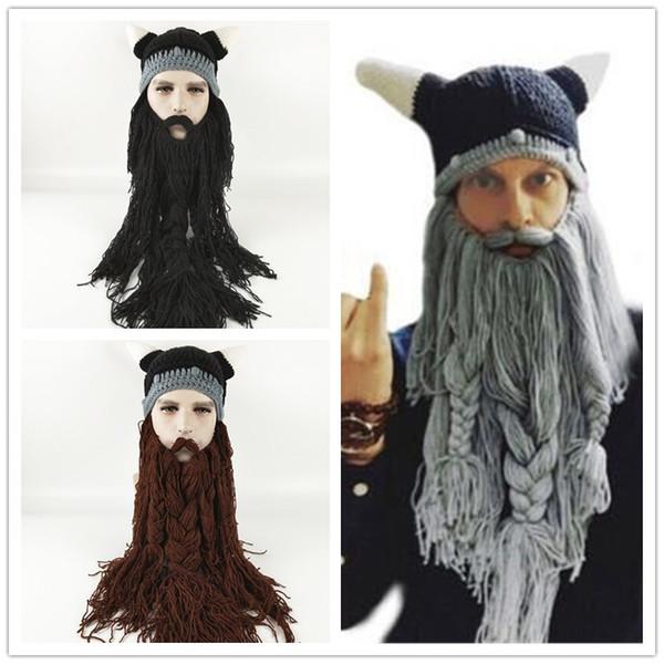 Funny Wig Beard Viking Handmade Knitted hats Winter Warm Crochet Caps Men Women Halloween Christmas Gift Party Face Masks Beanies Xmas horn
