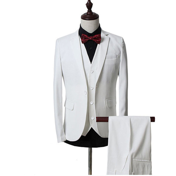 2018 Men Suits White Notched Lapel Business Tuxedos Wedding Suits Groomsman Slim Fit Formal Prom Blazer Best Man Evening Dress Party 3Piece