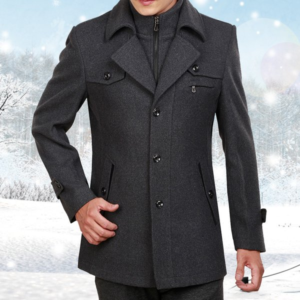 new arrival Detachable Zipper collar Winter Thickening Loose Woolen padded Coat Casual Single Breasted Mens Overcoat size M-3XL