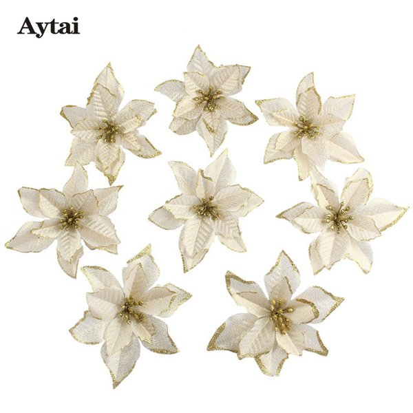Aytai 10pcs/lot Glitter Artificial Christmas Flowers 15cm Red and Gold Christmas Tree Pendant Ornament New Year Decor for Home D18110802