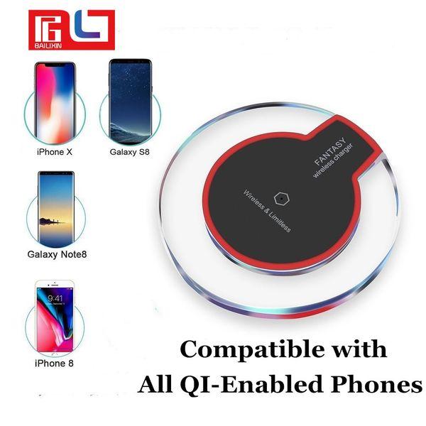 Livraison rapide Qi chargeur de téléphone sans fil Portable cristal fantaisie universel LED éclairage tablette de charge pour Samsung Galaxy S8 Iphone 8