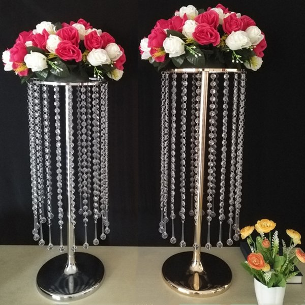 "Acrylic Crystal Flower Rack 60CM/ 23.6"" Tall Wedding Centerpiece / Table Flower Road Lead Party Hotel Vases For Home Decoration"
