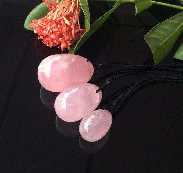 Natural Rose Quartz Crystal Eggs Crystal Yoni Egg for Women Kegel Exercise Vaginal Balls Massager Sex Toys