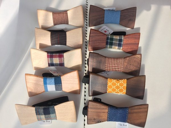 silk neckties Christmas gifts wooden bow tie Wave colored ribbon male women's bridegroom wood solid Wooden bow tie Neck