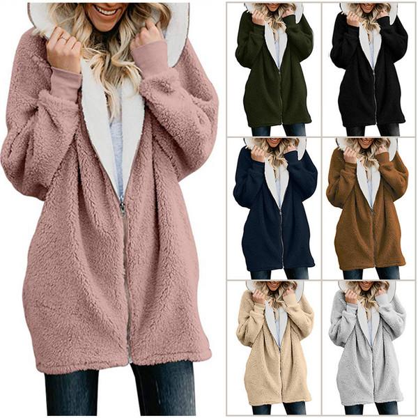 Plus Size Women Sherpa Coat Winter Fleece Jacket Full Zip Outwear Hoodie Hooded Casual Coats Fuzzy Fur Wool Coat Sweatshirt Brand Design Hot