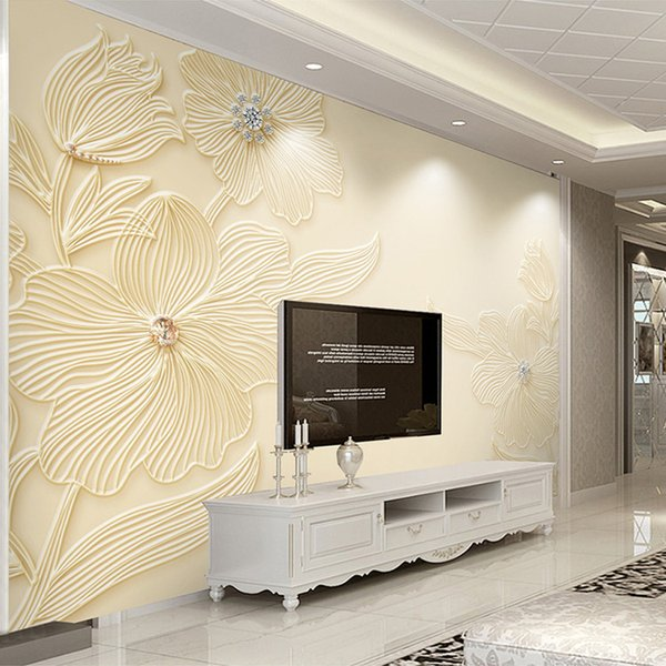 Custom Mural Wallpaper High Quality Diamond Flower Pattern 3D Relief Modern Simple Living Room TV Background Wall Painting Paper