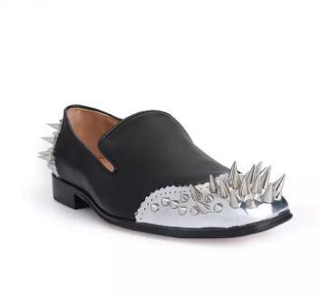 Desenhista Mens Top Daviol Assustador Flats Metallic Spikes Sapatos Oxfords Vermelho Mocassins de Couro Vestido Masculino Sapatos de Casamento Tamanho 38-46