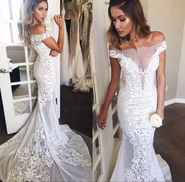 Flora Embroidery Mermaid Wedding Dresses Sexy Off Shoulders Sheer Illusion Long Train Bridal Gowns Formal Custom Made