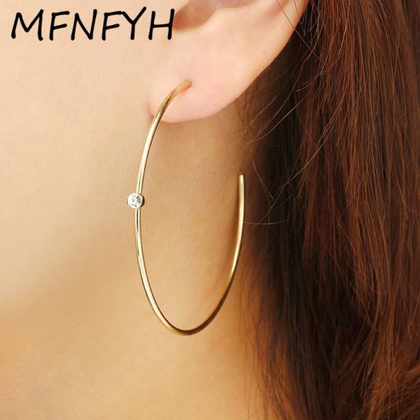 MFNFYH Minimalist Big Round Open Hoop Earrings for Women 2018 Gold Color Rhinestone Geometric Circle Earings Fashion Jewelry