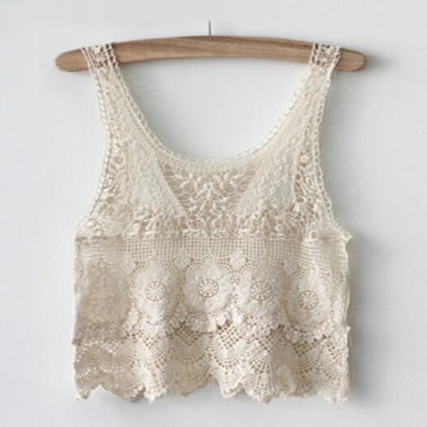 Senhoras Verão Hippie Boho Crochet Lace Floral Sem Mangas Pullover Bonito Sexy Vest Regata Blusa Bege Curto Novo