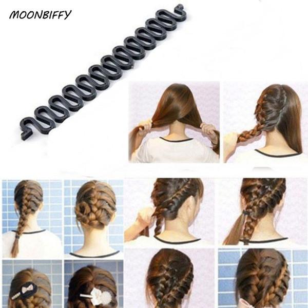 MOONBIFFY Femmes Dame Français Cheveux Tressage Outil Braider Crochet À Rouleau Avec Magique Cheveux Twist Styling Bun Maker Bande Accessoires