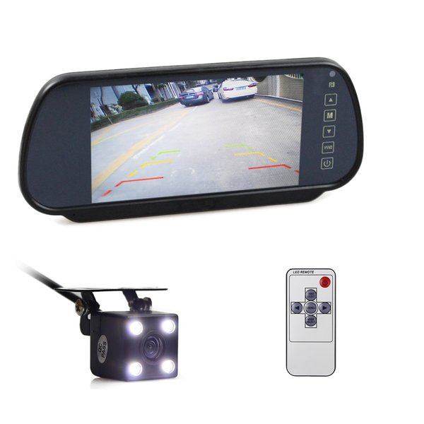 DIYKIT Wired 7 inch TFT LCD Display Car Mirror Monitor + LED Color Night Vision Rear View Car Camera Video Parking System