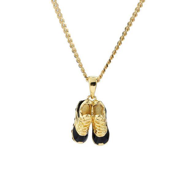 Fashion Hip Hop Gold Jewelry Men Charm Small Double Shoe Pendant Necklace Design 60cm Long Chain For Men