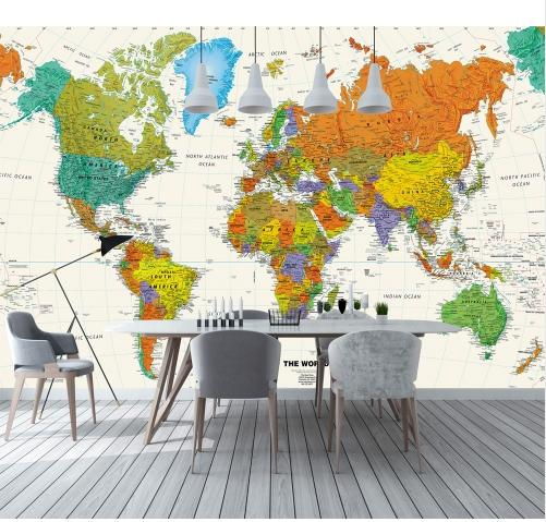 3d Colorful World Map Wallpaper Mural For Child Office Room Tv Background 3d Mural Wall Papers 3d World Map Wall Stickers Images Wallpaper Images