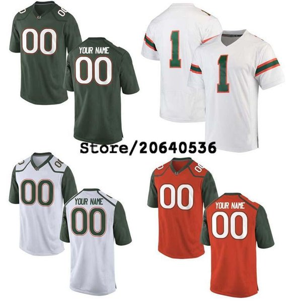 Günstige Custom Miami Hurricanes College Jersey Mens Frauen Jugend Kinder personalisiert jede Anzahl von jedem Namen genäht Wein grün Fußball Trikots