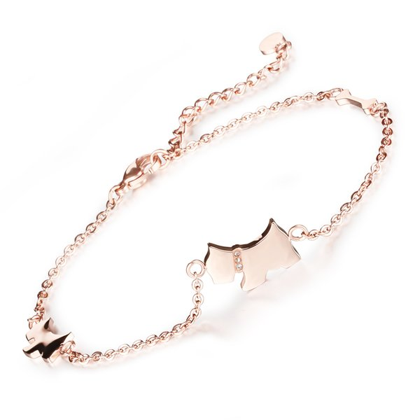 Woman Accessories Cute Lucky Dog Anklets Rose Gold Color Stainless Steel Chain Ankle Bracelet Foot Jewelry Beach GZ011