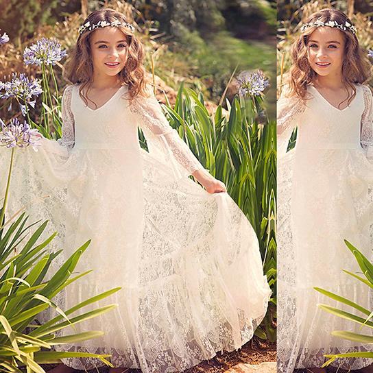 Nuevos vestidos de playa para niña de playa 2018 Boho vestido de primera comunión para niña con cuello en v manga larga A-Line barato para niños vestido de novia