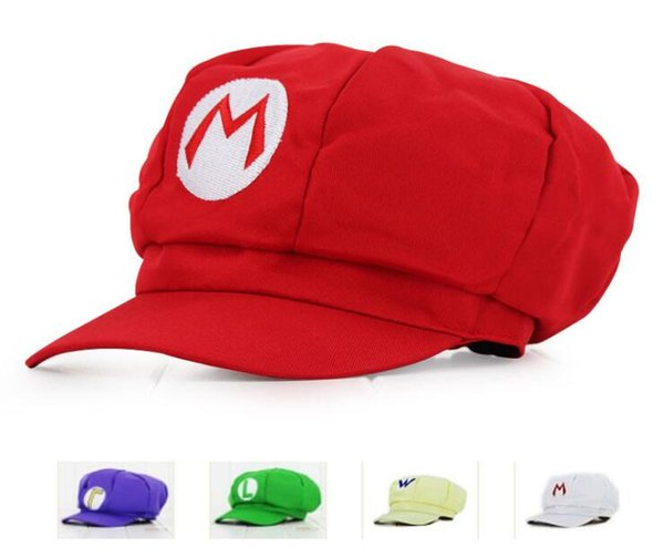 Mario Caps Red Mario And Luigi Cotton Cap 4 colors Anime Cosplay Halloween Costume Buckle Hats Adult Hats Caps