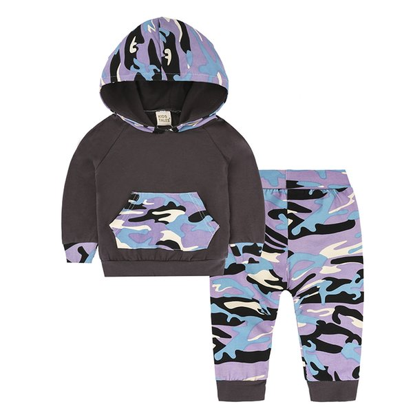 2018 New Fashion for Small Boys Clothes for Girl Long Pants Camouflage Sweat shirt Tops Pants 2pcs Children Clothing Set