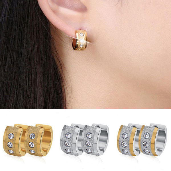 Unisex Rhinestones Hoop Earrings Men Earrings Trendy Women's Fashion 3 Colors Stainless Steel Ear Popular Jewelry