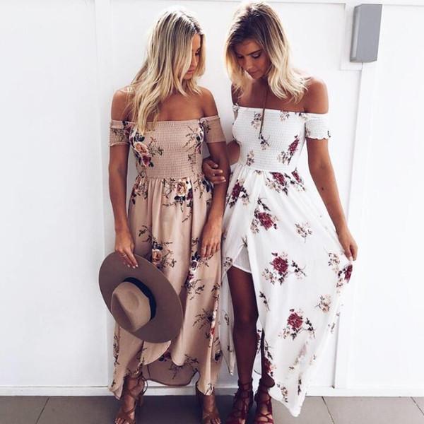 Abito lungo da donna in stile boho Abiti estivi da spiaggia con spalle scoperte Stampa floreale Abito lungo in chiffon bianco vintage vestidos de festa