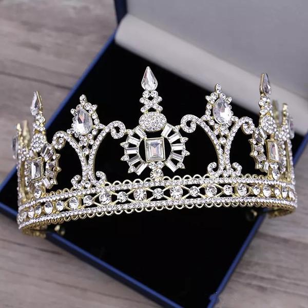 Cheap Silver Crystals Wedding Tiaras Beaded Bridal Crowns Diamond Head Pieces Rhinestone Headband Beaded Hair Accessories For Wedding