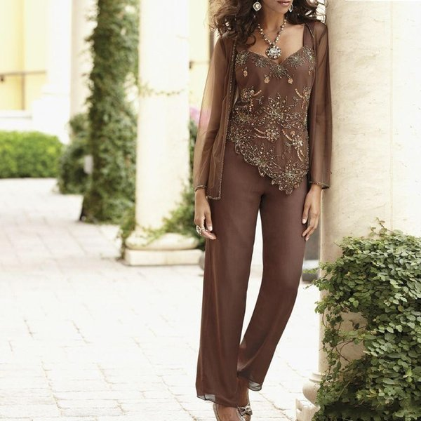 best selling Elegant Classy Sequin Beaded Mother Of The Bride Pant Suits With Jackets Custom Made Wedding Guest Dress Plus Size Mothers Groom Dress