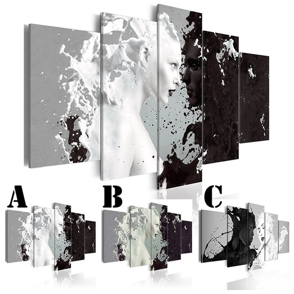 Wall Art Picture Printed Oil Painting on Canvas No Frame Multi-picture Combination 5pcs/set Home Decor Abstract Black and White People