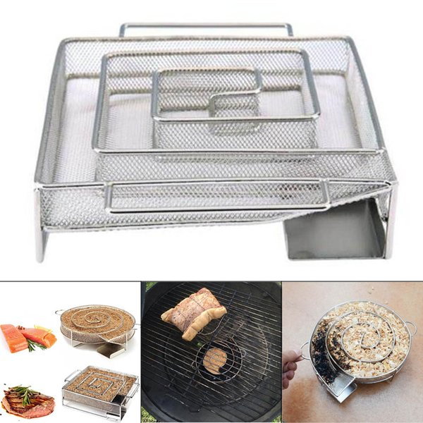 Cold Smoke Generator Stainless steel Barbecue BBQ Grill Accessories Round Smoker with Apple Small Wood Chips Grill Fish