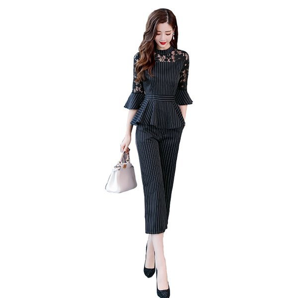 New Fashion Two Piece Set Women Lace Hollow Suit Striped Casual Fashion Office Lady Party Wear Temperament Hot Sale